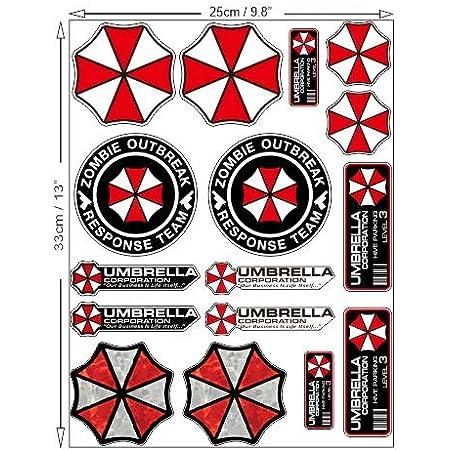 Umbrella Corporation Resident Evil Zombie Set Aufkleber Sticker Gratis Schlüsselringanhänger Aus Kokosnuss Schale Auto Motorrad Resident Evil Zombie Raccoon City Nemesis Walking Dead Auto