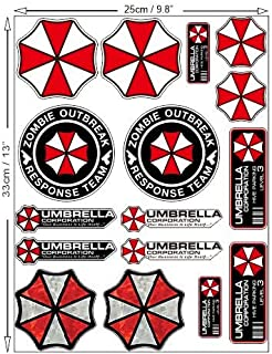 Umbrella Corporation Set Resident Evil Zombie Walking Dead Sticker Decal Pegatinas Aufkleber/Plus Coconut Shell Keychain Ring/Nemesis Raccoon City Car Truck Bumper Bike Helmet Notebook Skateboard