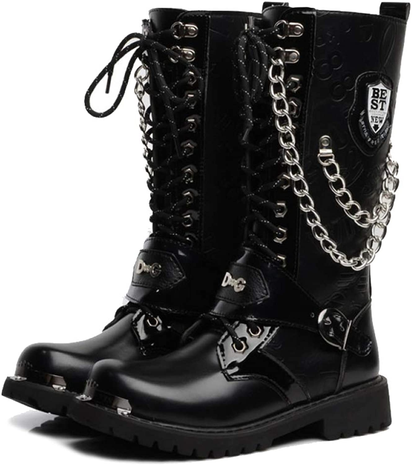 YYIN Boots Men High Top Martin Boots Chain Lace Up Army Military Desert Combat Boot Security Police Tactical shoes Black Special Forces Patrol Boots Work Safety Boots