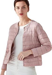 Femme Doudoune Ultra L/ég/ère Veste Duvet de Canard Blanc Printemps ou Automne Zipp/ée Manches Longues Chau Compressible Blouson Courte Manteau