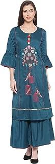 Aujjessa Women's Silk Embroidered Kurta Sharara Suit Set with Dupatta (Teal Blue)