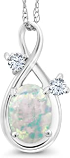Gem Stone King 0.71 Ct Cabochon White Simulated Opal & Created Sapphire 14K White Gold Pendant