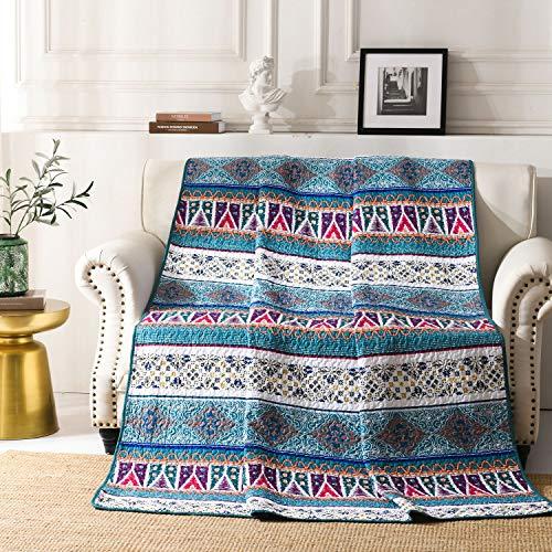 Qucover Cubrecama 150x200cm Verano para Cama 90,Cubrecanape,Colcha Cubre Sofa como Sabana Pique Reversible,Veranoo Manta Azul