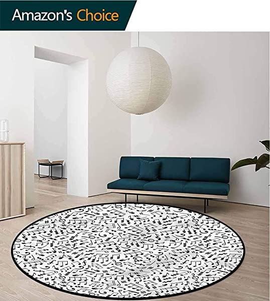 RUGSMAT Black And White Modern Machine Washable Round Bath Mat Notes And Chord Living Room Bedroom Desk Chair Mats Round Diameter 24