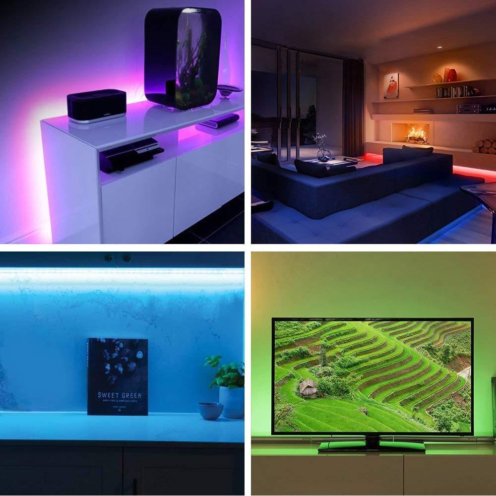 4x50cm Tira LED WiFi con alimentación USB, Retroiluminación TV RGB ...