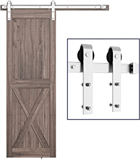 SMARTSTANDARD 5FT Heavy Duty Sliding Barn Door Hardware Kit, Single Rail, Stainless Steel, Smoothly and Quietly, Simple an...