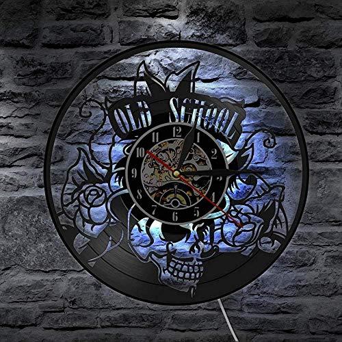 WTTA Old School Art Tattoo Studio Silent Wall Sign Disco de Vinilo Reloj de Pared Calavera con Reloj de Flores decoración Hipster Hombre Regalo