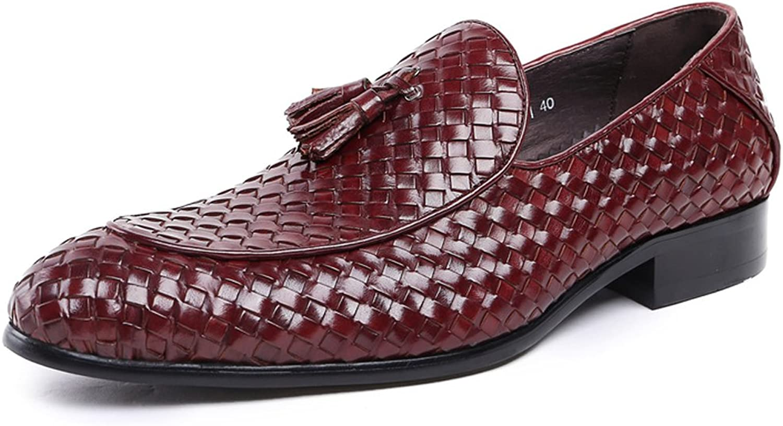 MedzRE Men's Fringe Detail Slip-on Woven Loafers in Leather