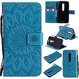 Ooboom® Motorola Moto X Style Funda Flip Cover Wallet Case Carcasa Cubierta Piel PU Billetera Soporte Plegable con Tarjetero para Motorola Moto X Style - Azul