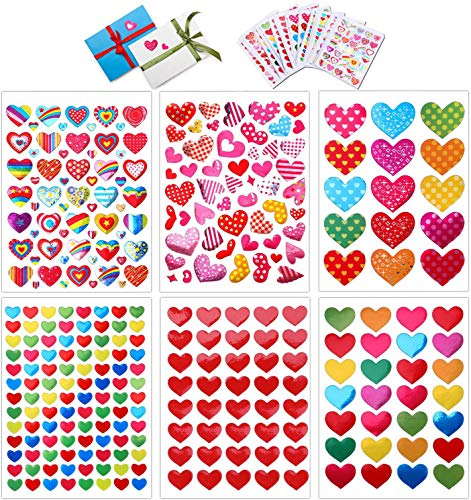 Konsait 60 Sheets Valentine Heart Stickers Love Decorative Sticker for Kids Envelopes Cards Craft Scrapbooking for Great Party Favors Gift Prize Class Rewards Award Praise (3000+ Colorful Heart)