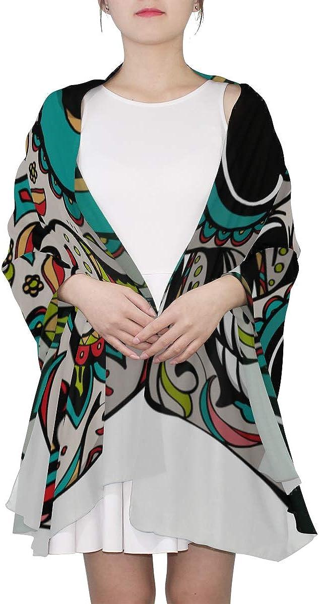 Lightweight Summer Scarf Brigh Ethnic Gothic Sugar Skull Fashion Scarfs For Women Lightweight Fashion Scarf Lightweight Lightweight Print Scarves A Scarf For Women Fashion Scarf