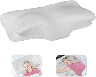 Gluckluz Memory Foam Pillow Cervical Contour Bed Pillowcase Orthopedic Ergonomic Neck Support Pillow for Pain Relief Indoo...