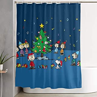 Meirdre Stylish Shower Curtain Christmas Snoopy and Friends Printing Waterproof Bathroom Curtain 60 X 72 Inches