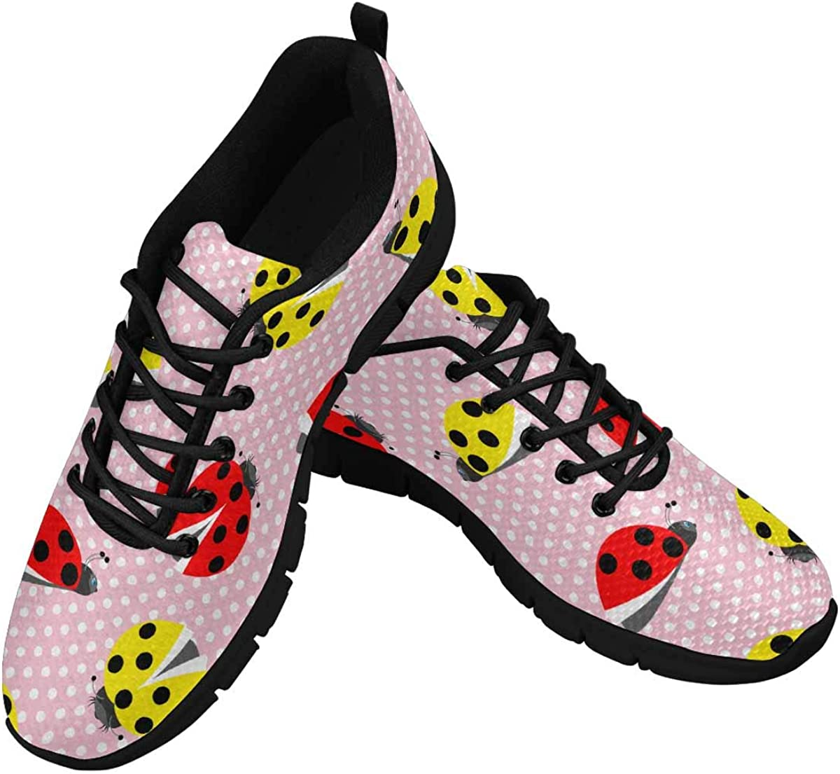 InterestPrint Insect Yellow Red Ladybugsk Women's Breathable Non Slip Sneakers