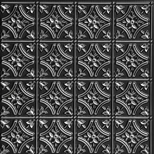 From Plain To Beautiful In Hours 150 Gothic Reams PVC 2' x 2' Glue-up Ceiling Tile, Pack of 25, Antique Silver, 25
