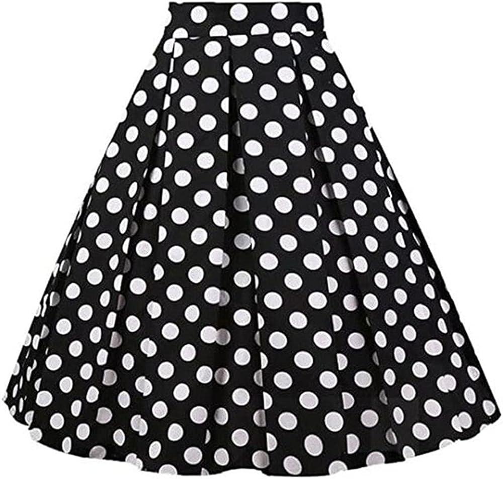 Women Skirts Waist Casual Streetwear Daily Dot Pinup Skater