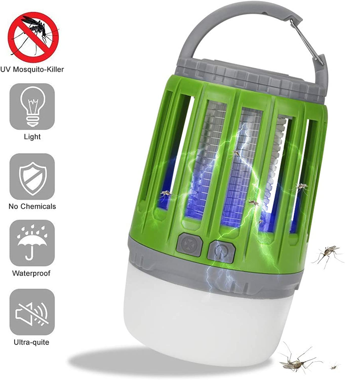 2 in 1 USB Rechargeable Bug Zapper, LED Light 360400NM UV Outdoor Mosquito Zapper Light for Bedroom, Garden,Camping,Green