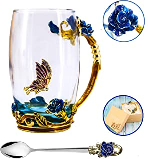 Tea Cup, Mother's Day Gifts, Coffee Mug, Clear Glass Cups with Spoon Set, Lead Free Handmade Butterfly, Unique Rose Flower Enamel Design, Birthday Decoration Wedding Gift Ideas (Blue Tall)