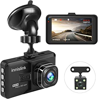 Dash Cam, innislink 1080P FHD DVR Car Driving Recorder 3 Inch LCD Screen 170° Wide Angle, Front and Rear Cameras, Night Vision, G-Sensor, WDR, Parking Monitor, Loop Recording, Motion Detection-Black