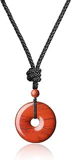 COAI® Collar Ajustable de Colgante Piedra Semipreciosa Dónut Redondo Protección Curación