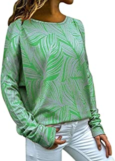 Remanlly Plus Size Tops Women's Fashion Loose Casual Long Sleeve Floral Print Round Neck Blouse