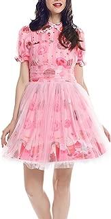 SHANSHAN Womens Chiffon Printing Lolita Dress Short Sleeve Sweet Layered Dresses Pink