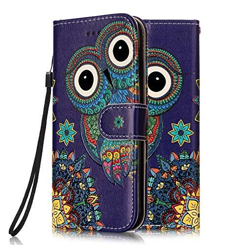 Coeyes Handyhülle kompatibel für Motorola Moto G7 Power Hülle Leder Tasche Flip Hülle 3D Muster Design mit kartenfach Brieftasche Etui Schutzhülle Cover Lederhülle - Eule