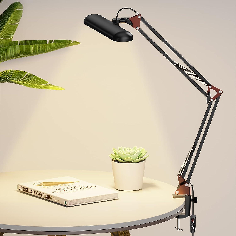 LED Desk Lamp, Swing Arm Desk Light with Clamp, Cooling Holes Design, 3 Lighting 10 Brightness Eye-Caring Modes, Reading Desk Lamps for Home Office 360° Spin (Rose Gold)-14W