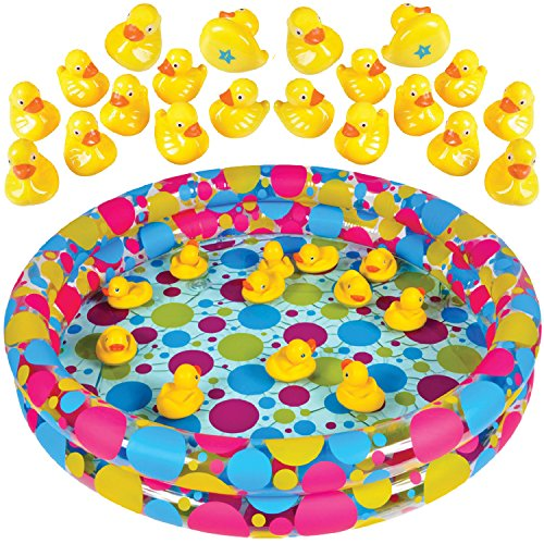 """Duck Pond Matching Game by GAMIE - Includes 20 Ducks with Numbers and Shapes and 3' x 6"""" Inflatable Pool - Memory Game - Water Outdoor Game for Children, Preschoolers, Birthday Party, Carnival"""