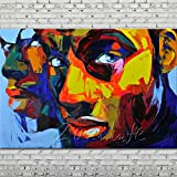 Gbwzz Palette Couteau Portrait Peinture à lhuile Abstrait Visage Humain Peint à la Main sur décoration de la Maison...