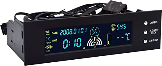 5.25 inch Fan Speed Controller - PerryLee PC Computer Fan Controller Temperature Controller Front Panel Date Time Temperature Display Drive Bay