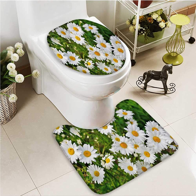 Printsonne Bathroom Non-Slip Floor Mat A Daisy Flower in Full Bloom with High Absorbency