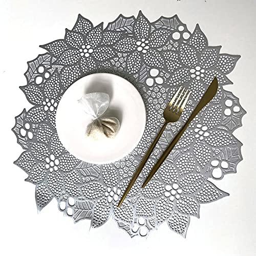 MRBJC Protección de mesa para cualquier tipo de mesa, madera, granito, vidrio, esteatita, arenisca, mármol, mesas de piedra, posavasos suave perfecto para vasos de bebida. Plata 38 cm