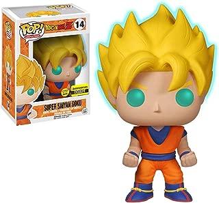 Funko Super Saiyan Goku [Glow-in-Dark] (EE Exclusive): Dragonball Z x POP! Animation Vinyl Figure & 1 POP! Compatible PET Plastic Graphical Protector Bundle [#014 / 05040 - B]