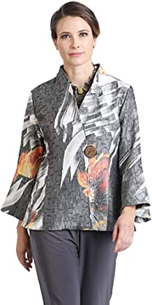 3037b327be0 IC Collection Brush Floral Print Collarless Jacket in Grey Multi - 2006J