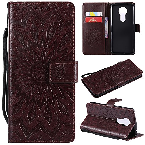 A-slim Moto E5 Plus Case Moto E5 Supra Wallet Case,PU Leather Case Sun Flower Pattern Embossed Purse with Kickstand Flip Cover Card Holders Hand Strap for Motorola Moto E Plus 5th Gen Brown
