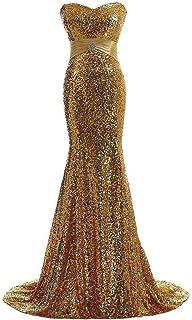 FDHKG Vestido de la Dama de Honor Top de Tubo para Mujer Correa pequeña para Seguimiento Vestido de Noche Vestido Largo de Noche con Lentejuelas para Fiesta Formal (Color : Oro, tamaño : US20)