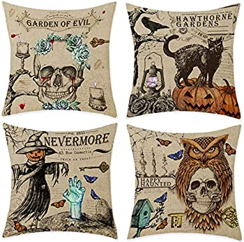 4-Pack Bonsai Tree Halloween Pillow Covers