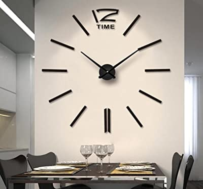 HE-clock Modern DIY Large Wall Clock Stylish 3D Mirror Wall Sticker Clock Home Modern