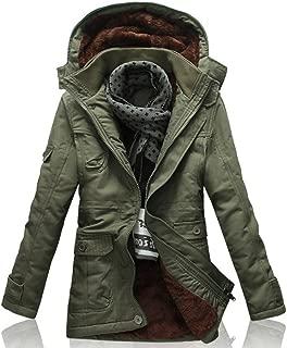 YFFUSHI ダウンジャケット メンズ 綿 モッズコート 厚手 裏起毛 大きいサイズ フード付き