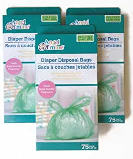 Angel of Mine Diaper Disposal Bags; Fresh Baby Powder Fragrance; 75 bags per pack (3 Pack)