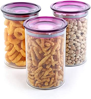 Machak Air Tight Dry Storage Box Kitchen Container Jar 900Ml Food Rice Pasta Pulses Container(Set of 3,Purple)