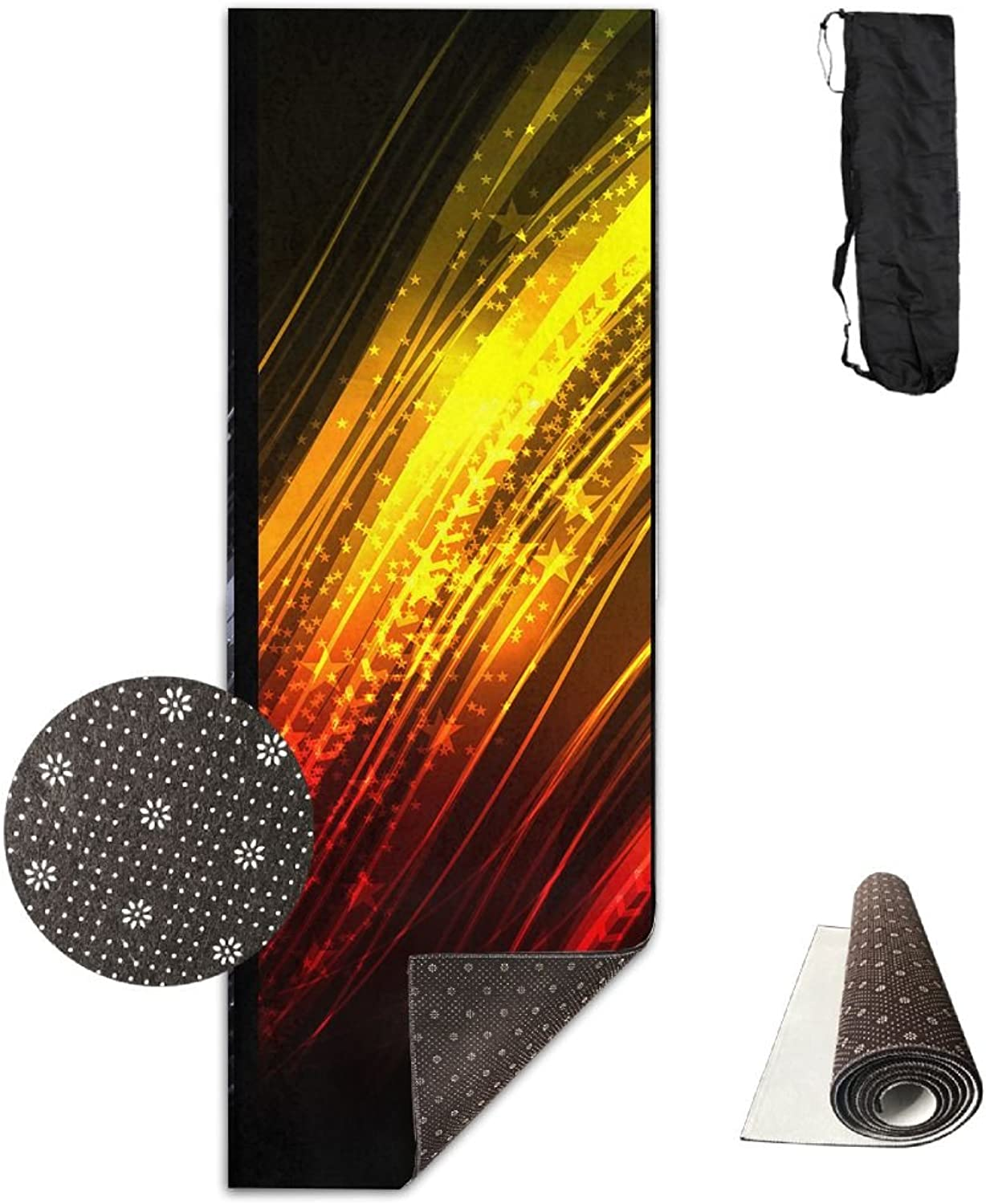 Yoga Mat Non Slip 24  X 71  Exercise Mats Abstract colord Premium Fitness Pilates Carrying Strap