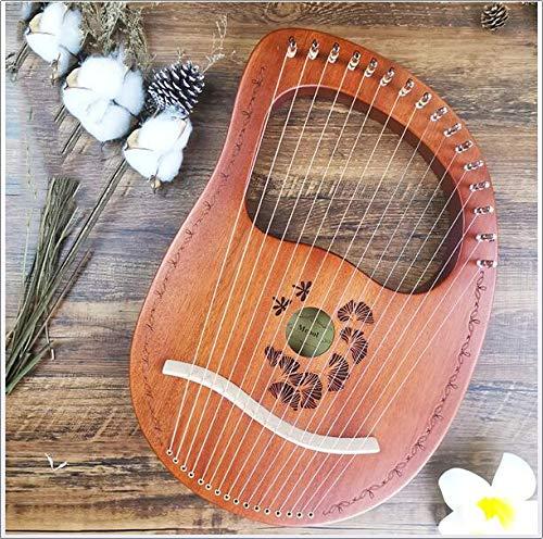 RROWER Lyre Harp, 16 Metall String Mahagoni Sperrholz Körpersaiteninstrument, Instrument, gravierte Entwurf, mit Tragetasche Stimmschlüssel Reinigungstuch Strings,Orange