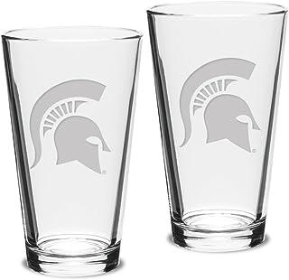 Boelter Brands NCAA Michigan Elite Pilsner Glasses   Michigan Wolverines 16 oz 2 Set of 2 Hourglass Beer Pints