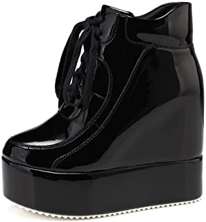 ea1c6aea1ac getmorebeauty Womens Hidden High Heel Platform Sneakers Wedge Lace Up  Chelsea Punk Patent Ankle Boots