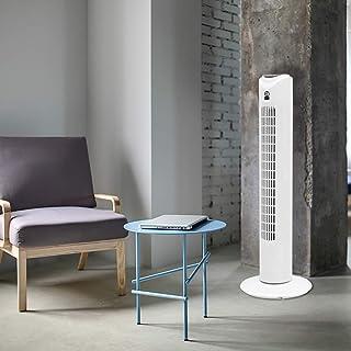 ECD Germany Ventilador de Torre oscilante con Mando Distancia 45 w función Giratorio y silencioso 81cm de Altura 3 velocidades Temporizador 7,5 Horas Temperatura Ambiente 140º enfriamiento Blanco