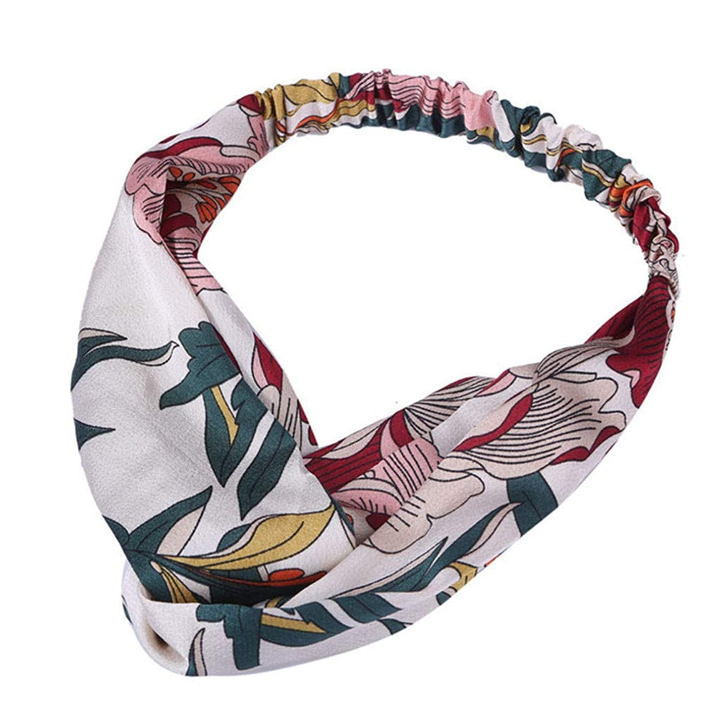 BEAUTYVAN Headbands for Women Floral Printed Head Wrap Twisted Cute Hair Accessories Elastic Turban Knot Hair Band