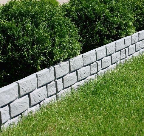 Woolux Garten Zaun Mauer Rasenkante Palisade Beeteinfassung Grau 1,74 m x 17,5 cm x 2,5 cm Stark