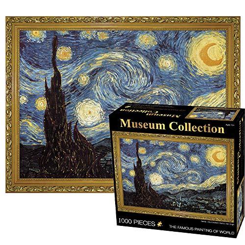 MEDOYOH Puzzle Notte Stellata di Van Gogh 1000 Pezzi per Adulti, 70x50CM Puzzle Arte Museum Collection, 2mm Puzzle di Cartone, Puzzle di Famiglia Puzzle Sfida Anti Stress per Adulti Bambini 14+